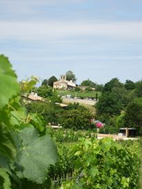 View from the Hourcat Sud vineyard towards the 12th Century Cardan church