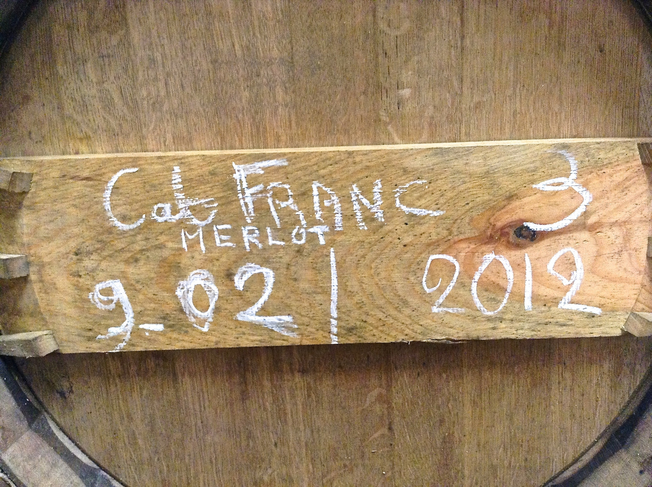 First ever barrel of Paradise Rescued Cabernet Franc Merlot in the winery awaiting bottling.