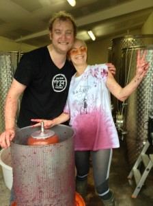 Press day in the winery - hard work but good fun!