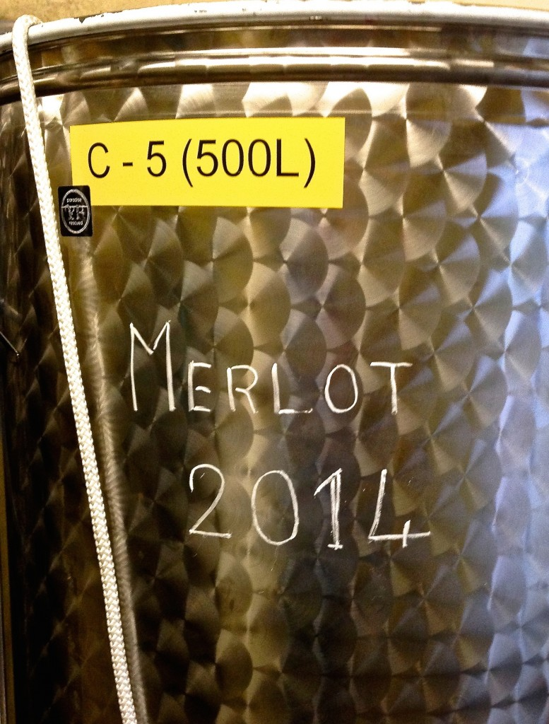 The results - the 2014 Merlot wine in new C-5 vat