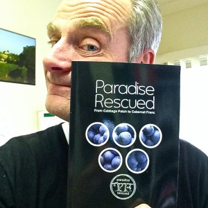 "New author David Stannard with his book ""Paradise Rescued - From Cabbage Patch to Cabernet Franc"" #CP2CF"