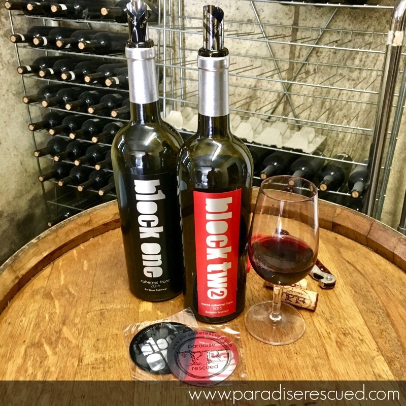 Paradise Rescued B1ockOne and BlockTwo wines on sale at the winery door Cardan Bordeaux