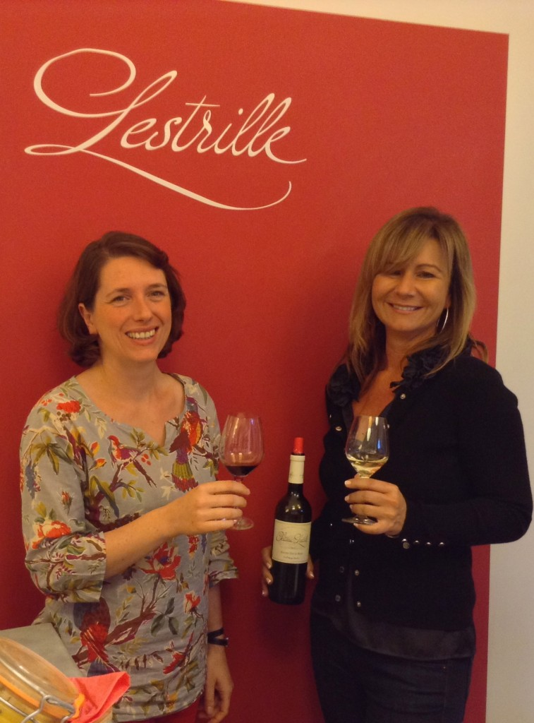 Monika Elling (right) CEO Foundations Marketing New York tasting the Lestrille wines with Estelle Roumage