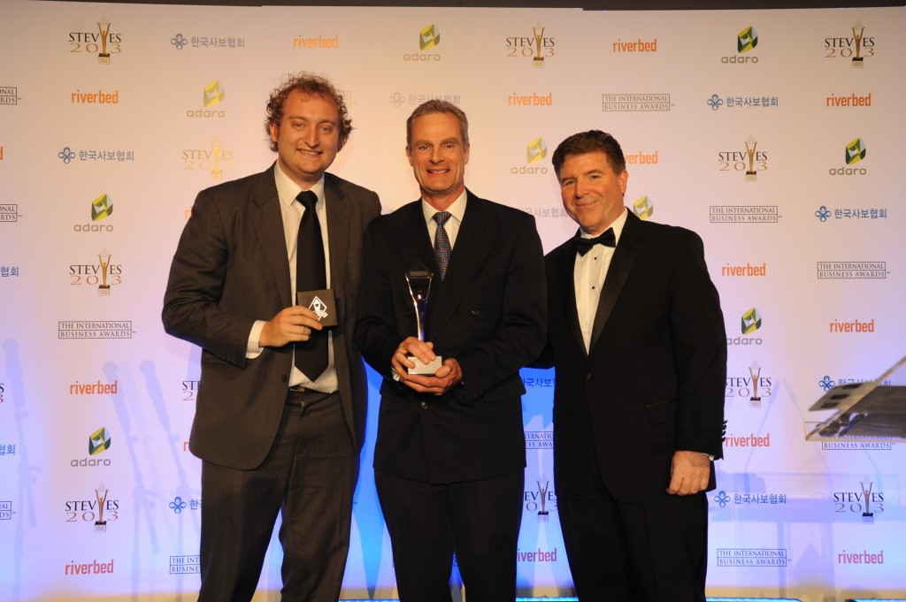 Paradise Rescued receiving the Silver Stevie International Business Award for Best New Company 2013