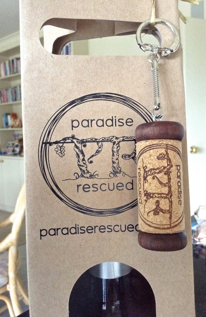 Paradise Rescued - our brand wine bag and cork key ring.