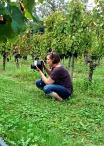 Tricia Wiles on location in the Paradise Rescued Cabernet Franc vines