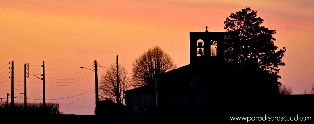 Sunset behind the 12th century church of Cardan Bordeaux - the inspiration for the Paradise Rescued Sustainability project.