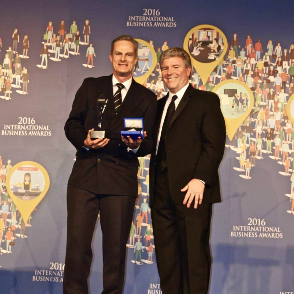 Paradise Rescued Founder Director David Stannard (left) receiving the Stevie Award