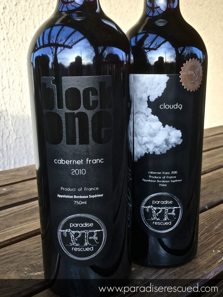 The 2010 Paradise Rescued 'twins' -B1ockOne and Cloud9 full varietal Bordeaux Cabernet Franc