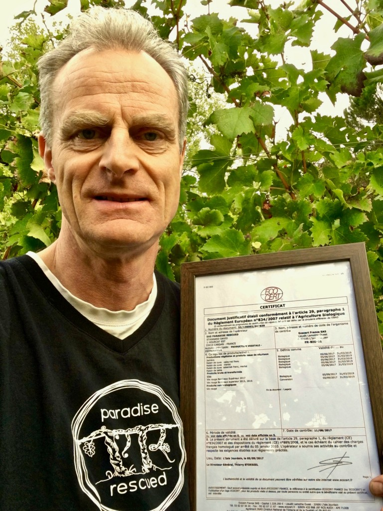 Paradise Rescued Founder Director David Stannard with their Organic Certification.